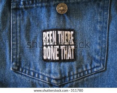 Patch on jacket pocket - stock photo