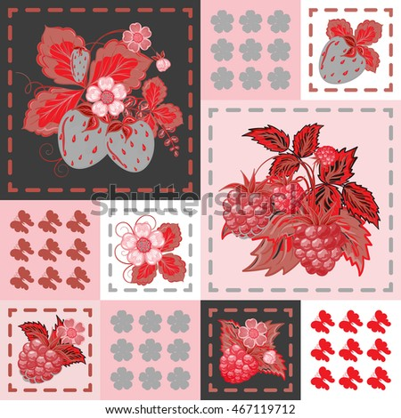 Patchwork background with strawberries and raspberries. Seamless  pattern. Red gray backdrop.