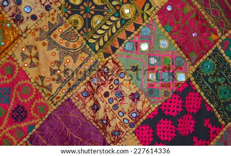 Patchwork bedspread in the eastern style, closeup image - stock photo