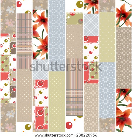 Patchwork design seamless floral pattern ornament beige colors background - stock photo
