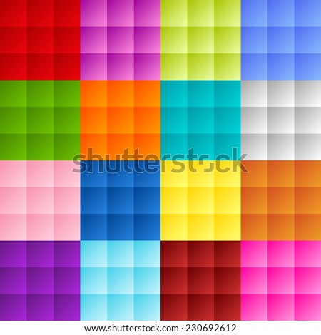 Patchwork of colorful squares or pixels in bright gradient colors - stock photo