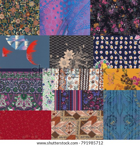 Patchwork of original 70s fabric pieces. Floral, colorful, mosaic fabric collage.