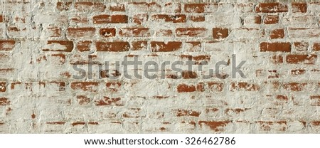 Patchy, Uneven And Shabby  Old Red White Brick Wall Texture Background - stock photo