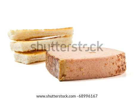 Pate Foie Gras with french toast isolated on white.