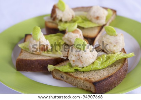 pate with cheese and beans - stock photo