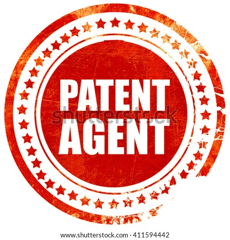 patent agent, red grunge stamp on solid background - stock photo