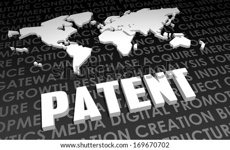 Patent Industry Global Standard on 3D Map - stock photo
