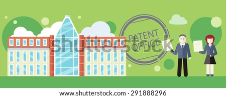 Patent office concept in flat design. Attorneys patent agents man and woman holding certificates of invention. For web banners, promotional materials, presentation templates. Raster version - stock photo