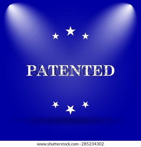Patented icon. Flat icon on blue background.  - stock photo