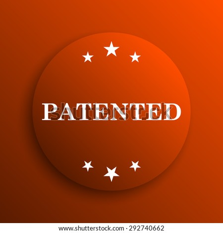 Patented icon. Internet button on orange background  - stock photo