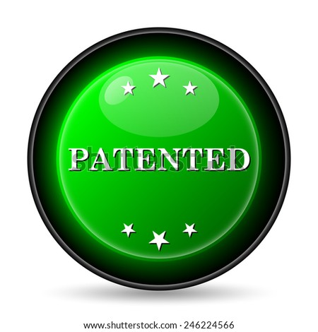 Patented icon. Internet button on white background.  - stock photo