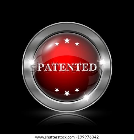 Patented icon. Metallic internet button on black background.  - stock photo