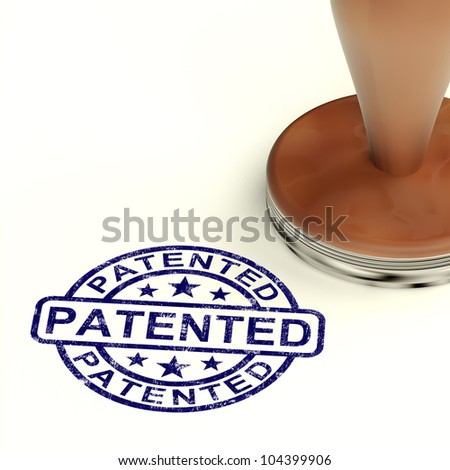 Patented Stamp Showing Registered Patent Or Trademark - stock photo