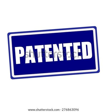Patented white stamp text on blue background - stock photo