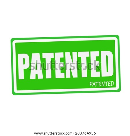 PATENTED white stamp text on green - stock photo