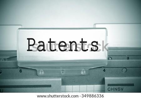 Patents Folder Register Index with spotlight - stock photo