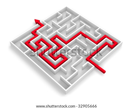 Path across labyrinth - stock photo