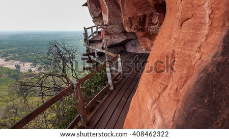 Path along the Cliff  (Phu Tok, Bueng Kan, Thailand) - stock photo