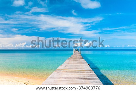 Path filled with Love Jetty to the blue  - stock photo