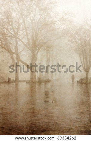 Path in a fog. vintage image style. - stock photo