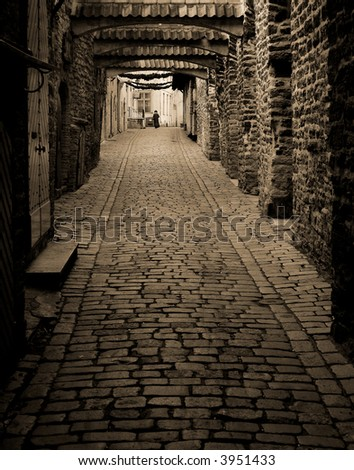 path in old city, sepia