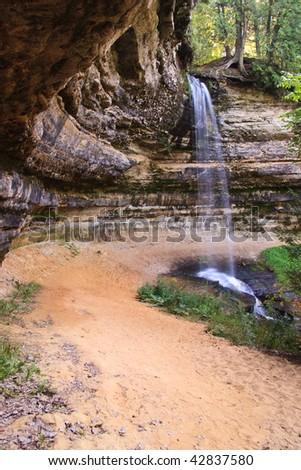 Path Leading to Waterfall - stock photo