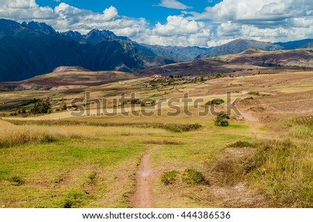 Path near Maras village, Sacred Valley, Peru - stock photo