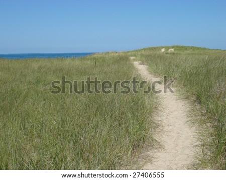Path through the sand dunes on Lake Michigan - stock photo