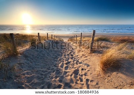path to sand beach in North sea, Zandvoort aan zee, North Holland, NEtherlands - stock photo