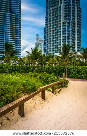 Path to the beach and highrises in South Beach, Miami, Florida.