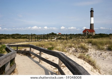 Path to the famous Fire Island Lighthouse located on Fire Island National Seashore, Long Island, New York - stock photo