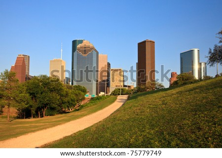 Path to the Houston Skyline - stock photo