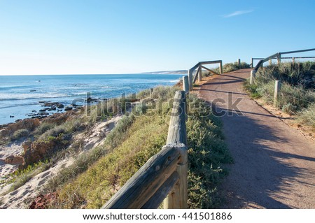 Path to the lookout on coastal dune with views of the Indian Ocean and Murchison River river mouth on the coast line of Kalbarri, Western Australia/River Mouth Overlook/ Kalbarri, Western Australia - stock photo
