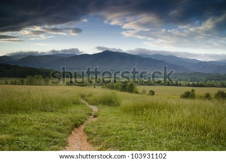 Path to the Mountains - stock photo