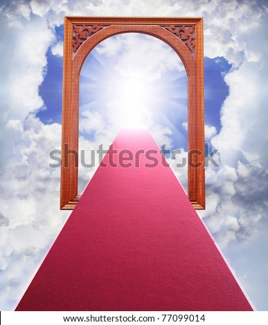 Paths lined with carpet. To the gates of heaven. - stock photo