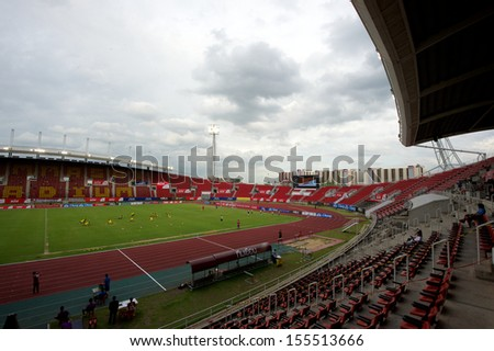 PATHUM THANI,THAILAND-JULY 21:	View  of  Thammasat Stadium in action during Thai Premier League between InseePolice UTD.and TOT SC.at Thammasat Stadium on July,2013 in Thailand
