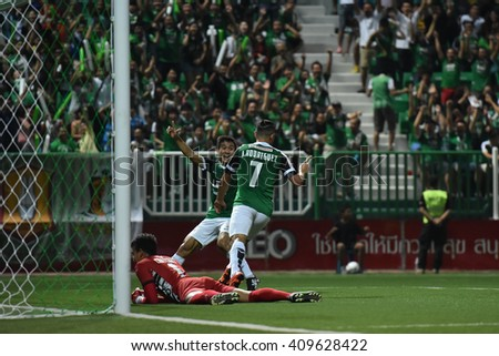 PATHUM THANI,THAILAND-MAR 6:Ariel Francisco Rodriguez Araya of Bangkok Glass FC. in action during Thai Premier League 2016 Bangkok Glass FC.and Osotspa M-150 at Leo Stadium on March 6,2016 in Thailand - stock photo