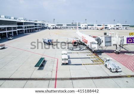 PATHUMTANI, THAILAND - APR 3: Runway of Don Muang Airport, which had been the main Airports of Bangkok Thailand on Apr 3, 2016