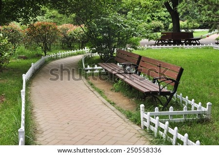 Pathway in a Beautiful Public Park - stock photo