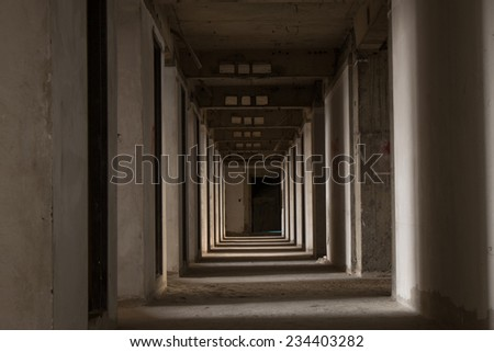 pathway in abandoned building - stock photo