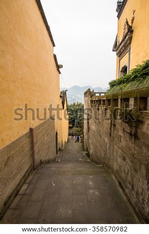 "pathway in the Ancient architectural buildings ""Huguang Guild Hall"" -Chongqing, China"