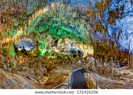Pathway through the Big Room, Carlsbad Caverns, New Mexico - stock photo