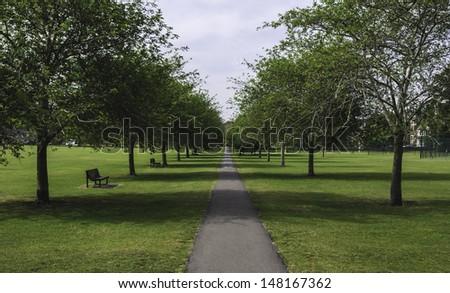 Pathway through traditional british park, Cambridge, UK - stock photo