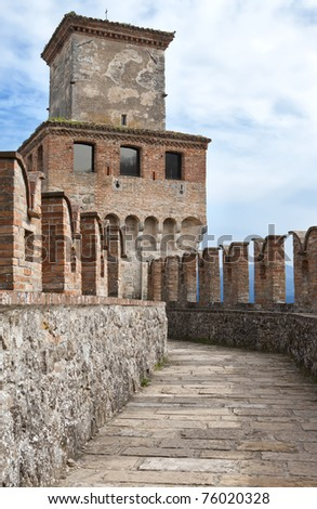 Pathway to a medieval tower in Vigoleno Castle, Piacenza, Italy