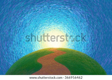 Pathway to top green hill illustration - stock photo