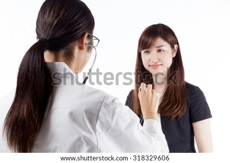 Patient and doctor consultation two-shot two-shot stethoscope