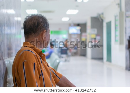 Patient elderly and many patient waiting a doctor and nurse in hospital - stock photo