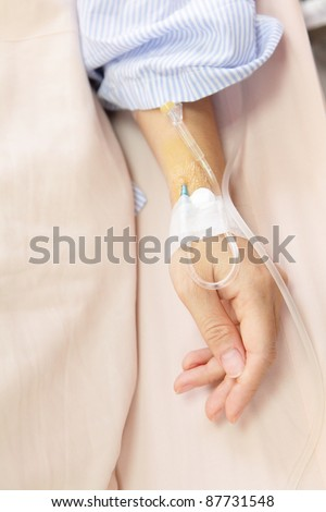 Patient's hand with an intravenous drip before surgery in an operation room - stock photo