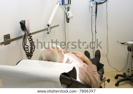 Patient waiting for medical procedure - stock photo