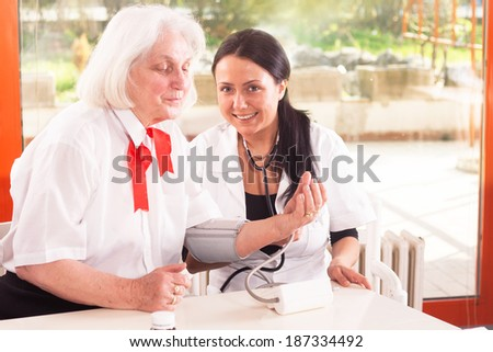 patient with a doctor - examination - stock photo